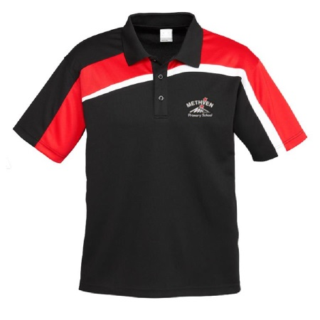 Methven Primary Polo Black/Red/White